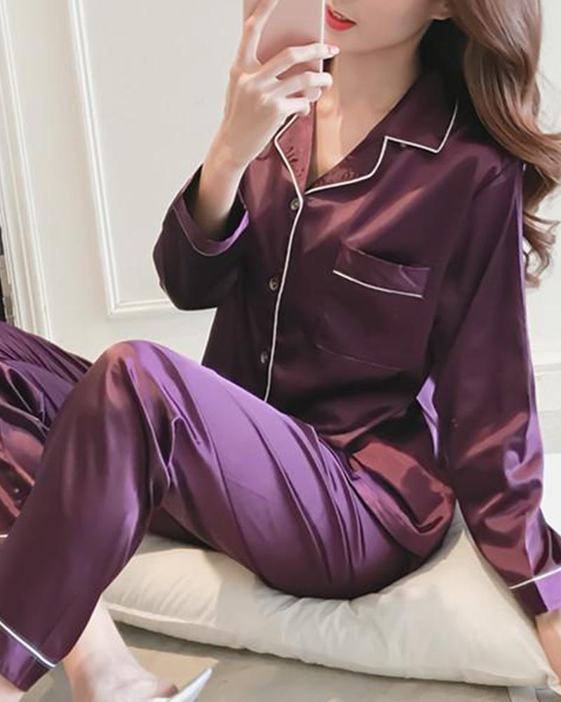 Satin Contrast Binding Pajama Set