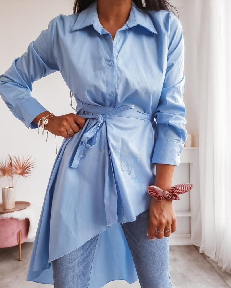 Long Sleeve Button Design Asymmetrical Shirt Dress