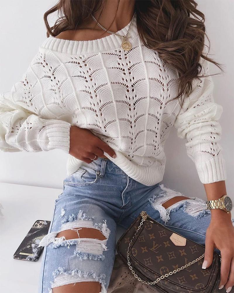 Long Sleeve Open Knit Sweater