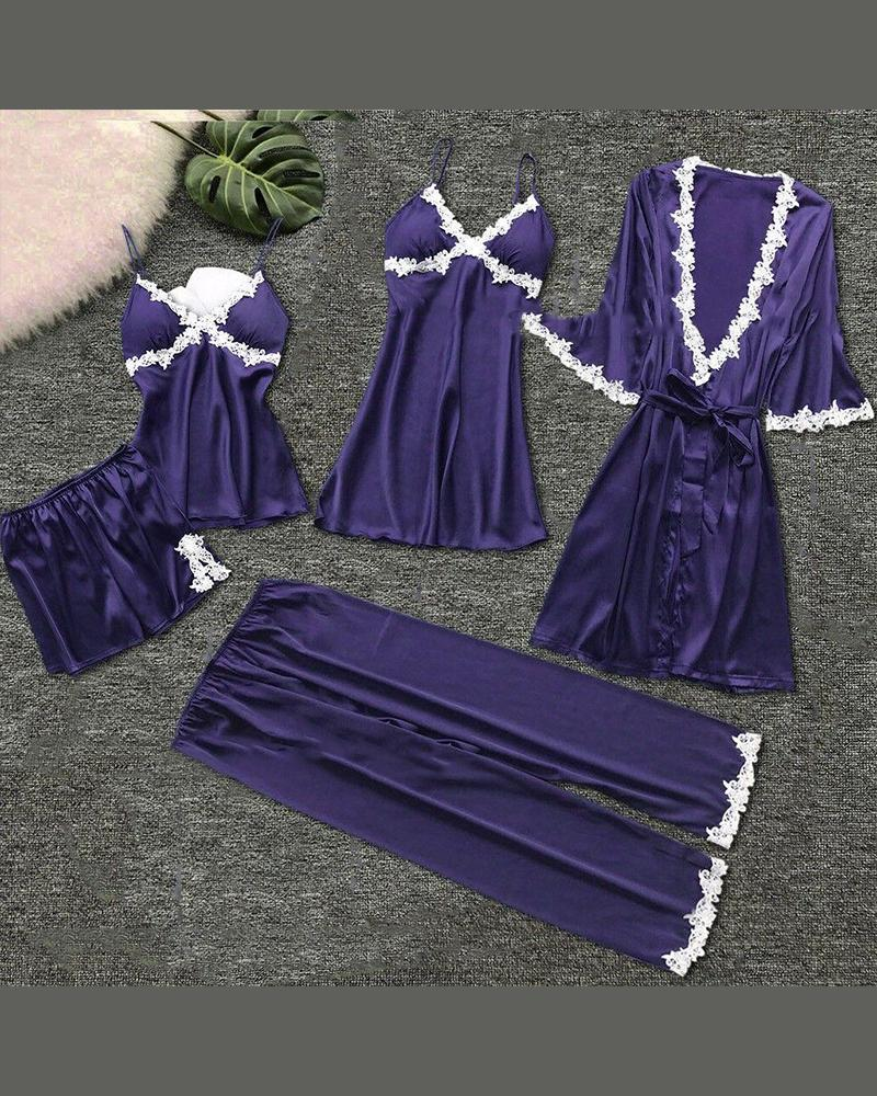 Eyelash Lace Cami & Robe 5PCS Set thumbnail