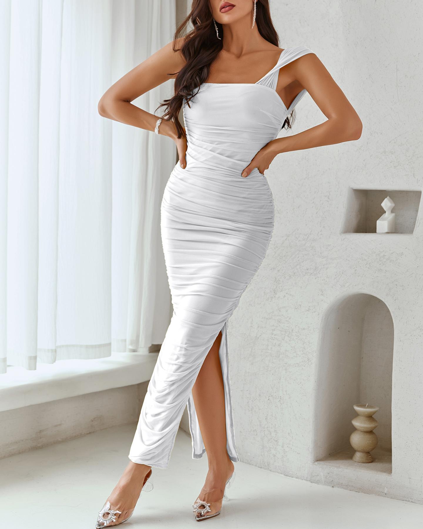 High Slit Ruched Square Neck Skinny Maxi Dress thumbnail