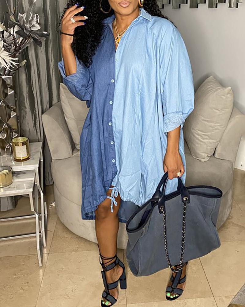 Lantern Sleeve Button Front Colorblock Denim Shirt Dress, Blue