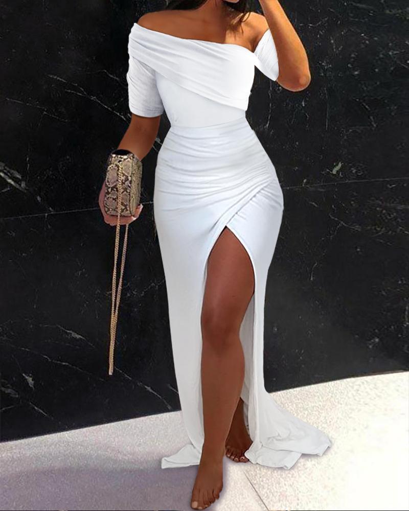 Off Shoulder Short Sleeve Slit Maxi Dress Plain Cocktail Dress Party Dress