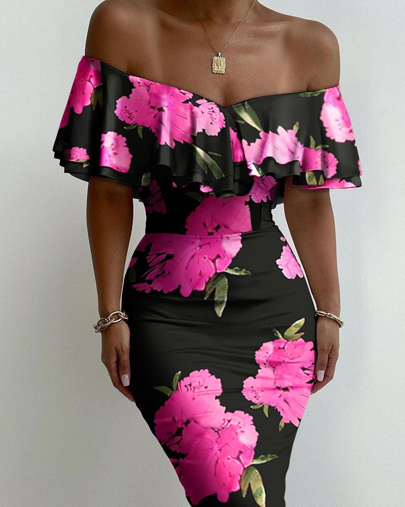 Floral Print Off Shoulder Ruffles Skinny Dress Slim Bodycon Dress Midi Dress