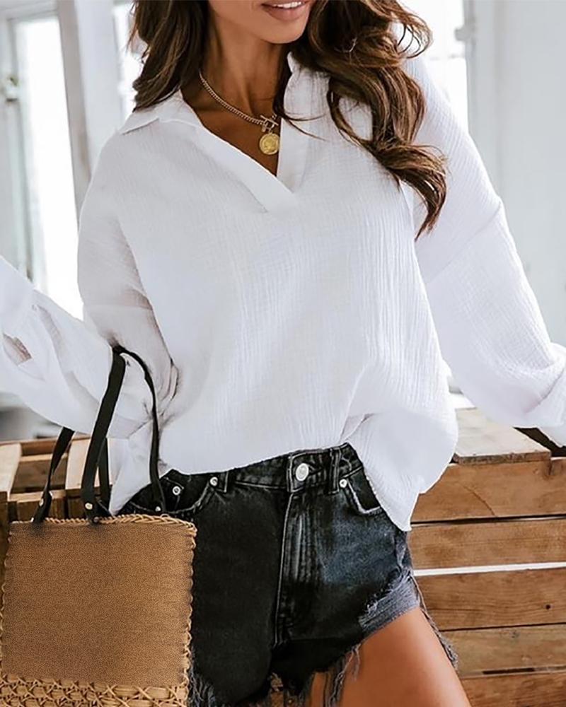 Lantern Sleeve Buttoned Casual Shirt