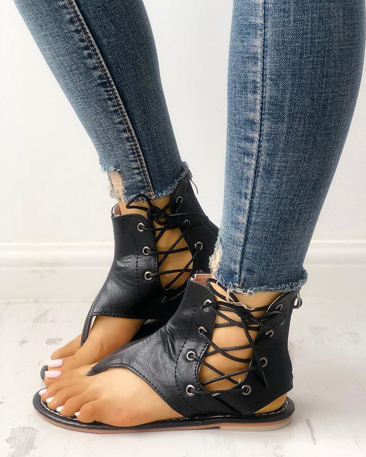Joyshoetique coupon: Lace-up Cutout Toe Post Flat Gladiator Sandals