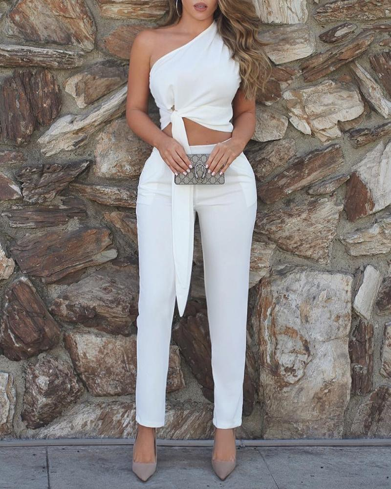 One Shoulder Sleeveless Tied Detail Top & High Waist Pant Sets Suit Sets White Solid Women Caual Outfits, ivrose  - buy with discount