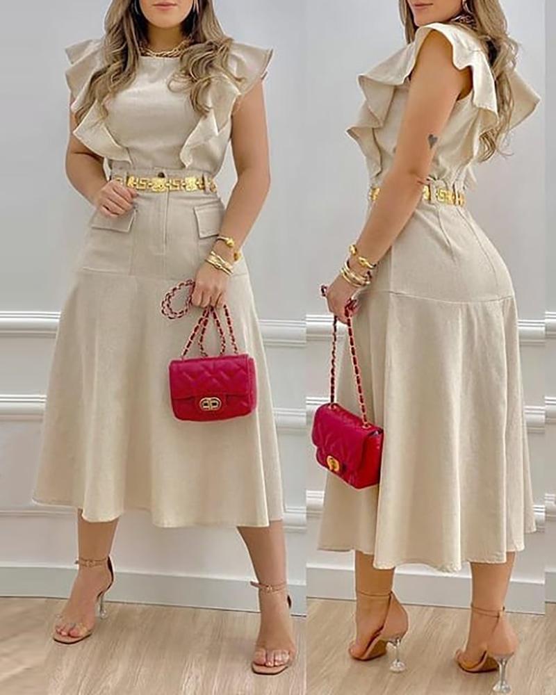 Two Piece Sets Casual Plain Ruffle Hem Pocket Decor Top & Single Button Skirt Set, Khaki