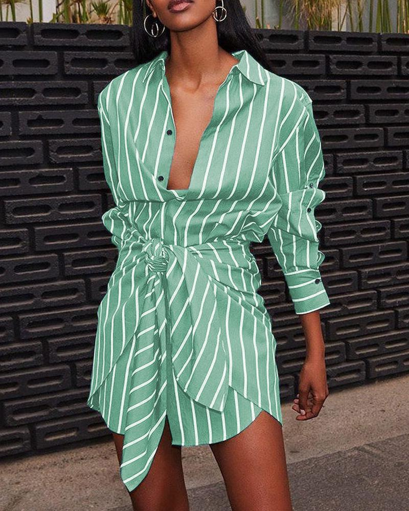 Striped Print Buttoned Fake Two-piece Shirt Dress