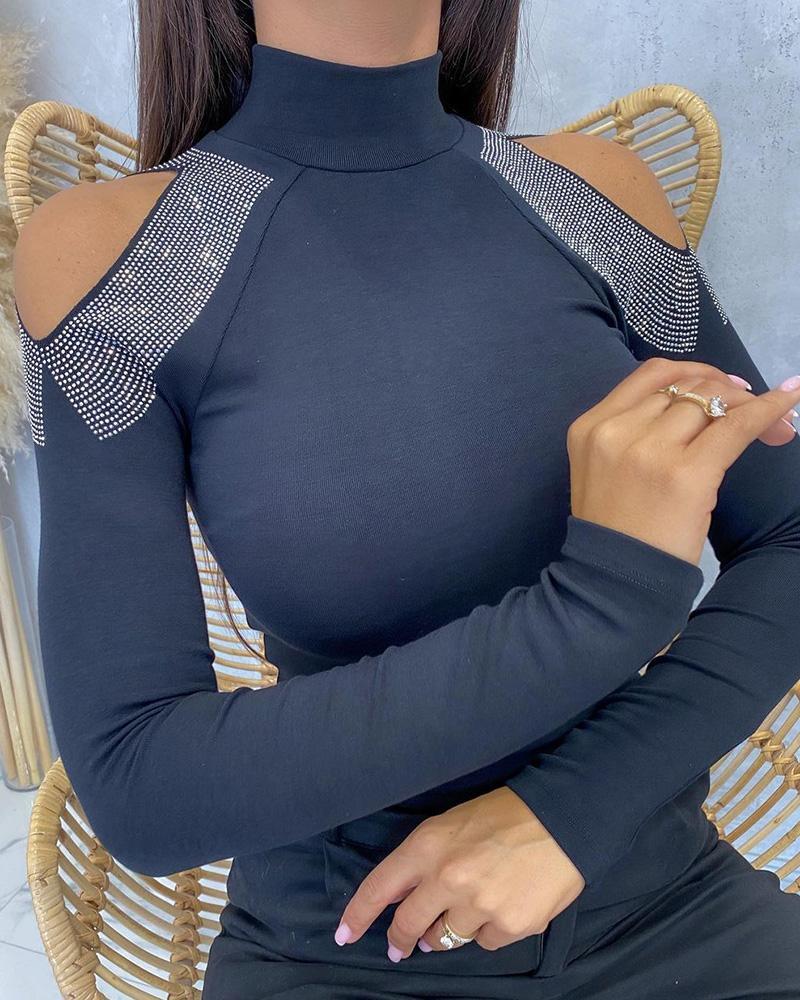 Cold Shoulder Long Sleeve Rhinestone Top