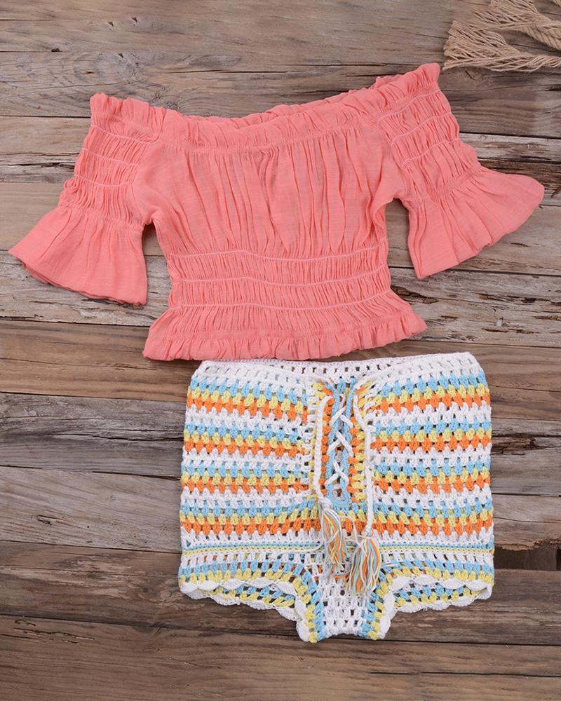 Off Shoulder Hollow Out Crochet Tankini Set