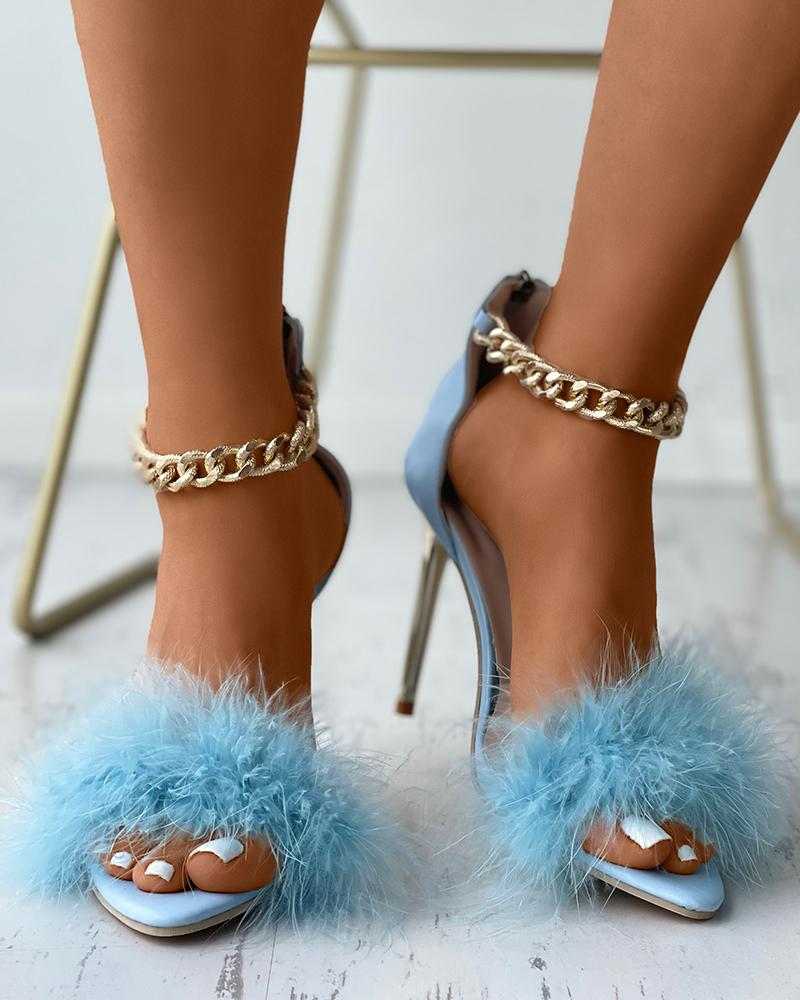 Feather Detail Chain Ankle Strap Stiletto Heels
