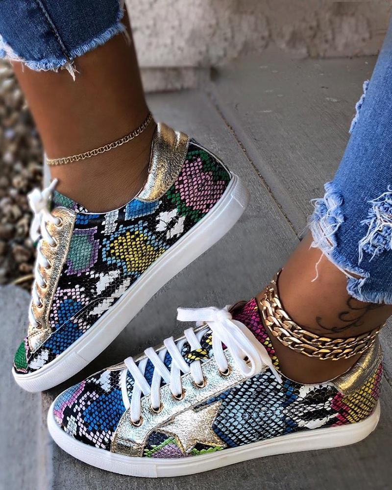 Snakeskin Star Design Lace-Up Sneakers thumbnail