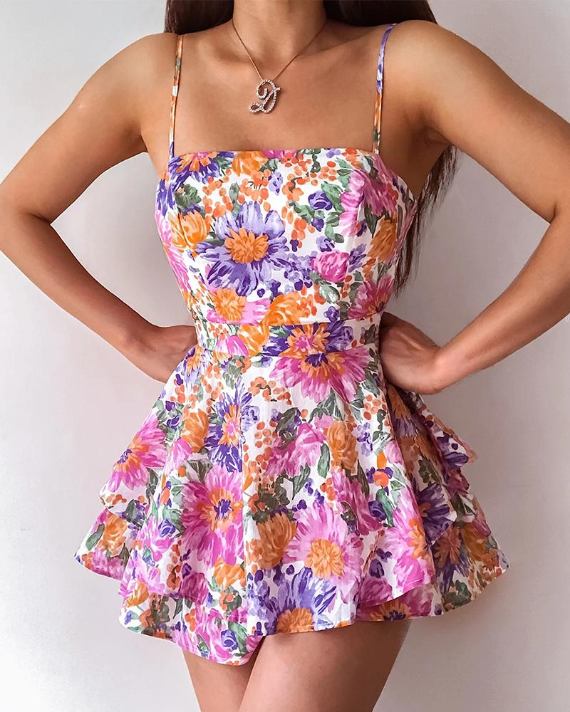Floral Print Knotted Backless Layered Ruffles Romper