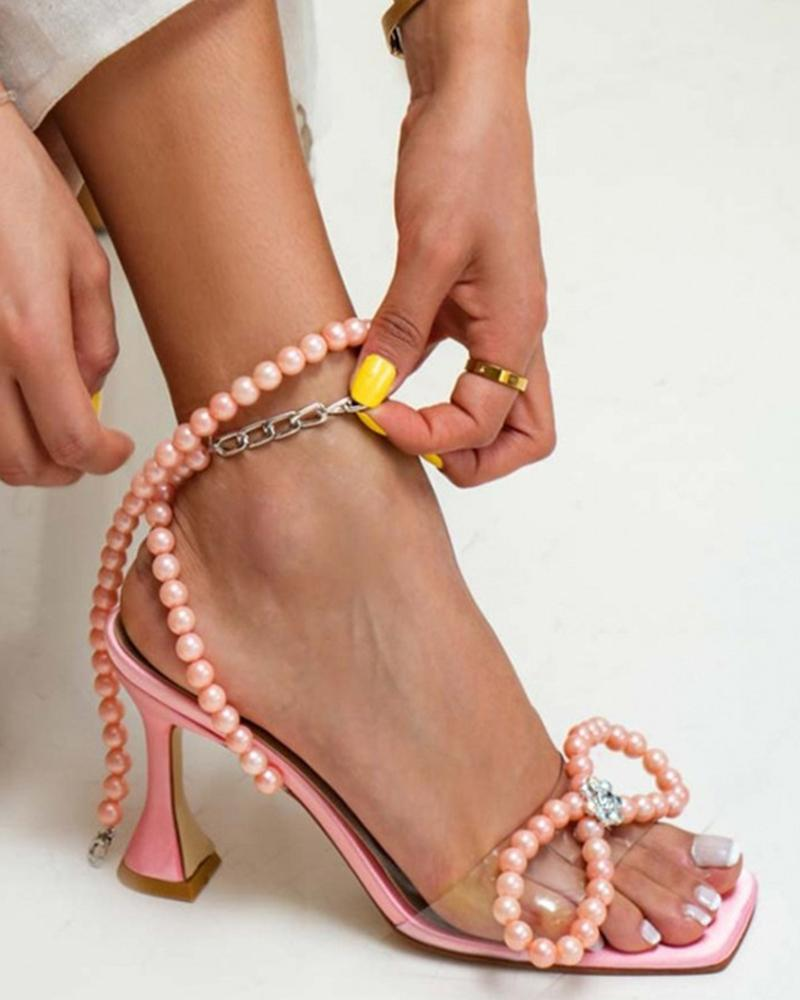 Ladies Beaded Decor Square Toe High Heel Sandals