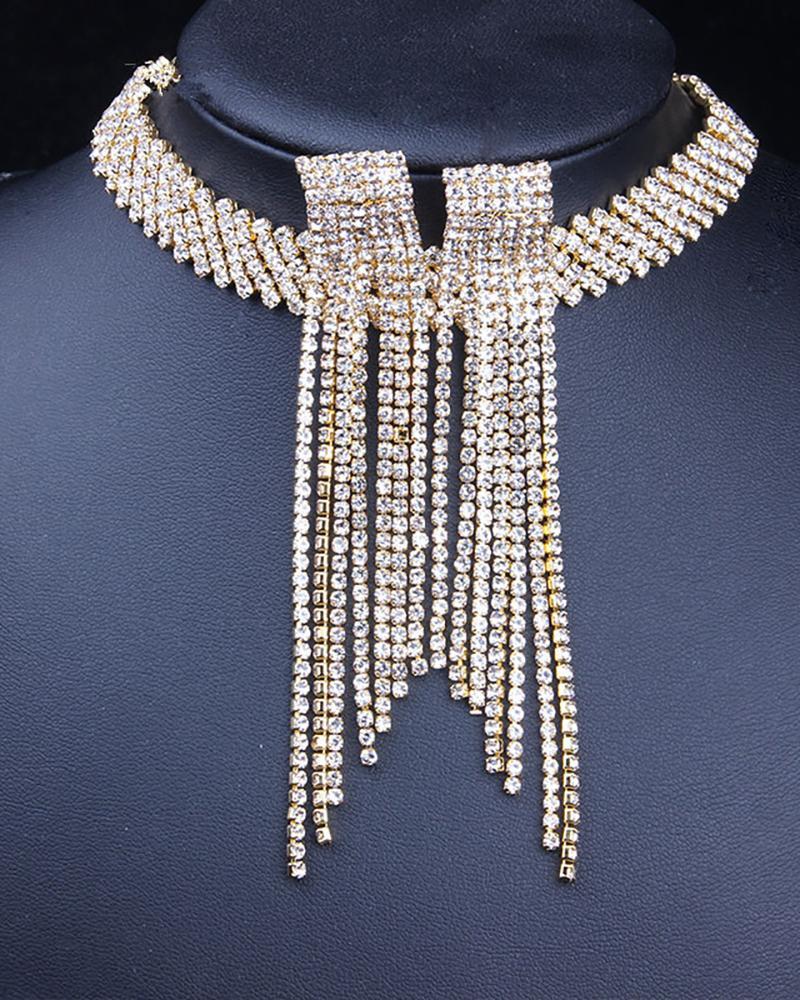 Allover Rhinestone Wide Band Jewellery Set