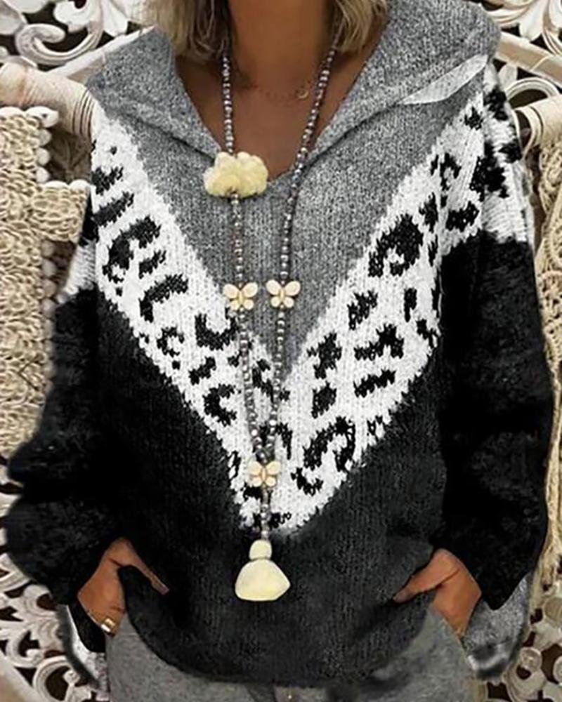 Cheetah Print Colorblock Lantern Sleeve Sweater, Black