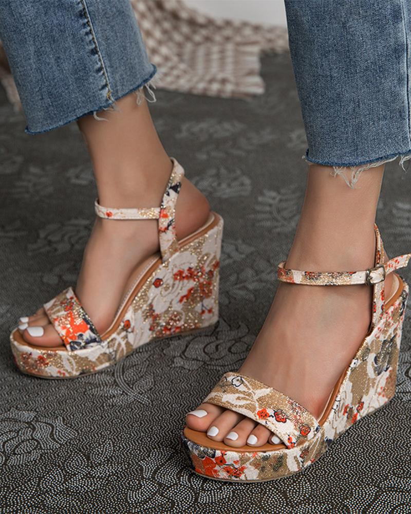 Floral Print Open-toe Wedge Shoes Sandals