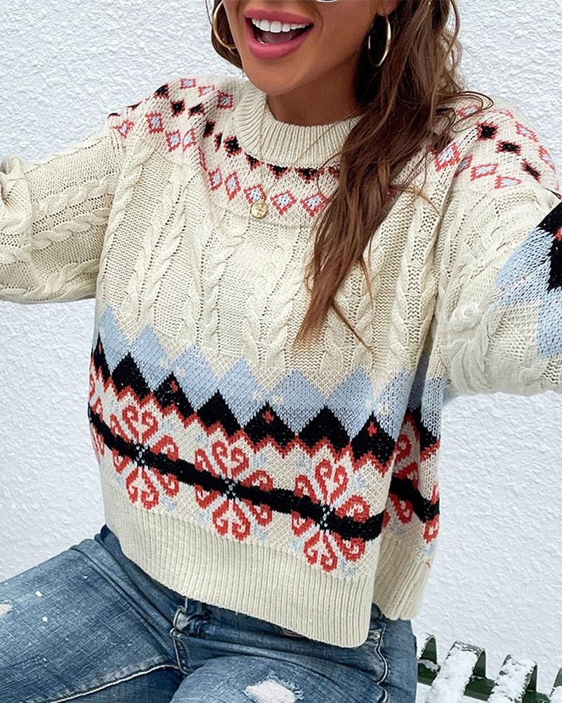 Christmas Geo Print Cable Knit Sweater, Beige