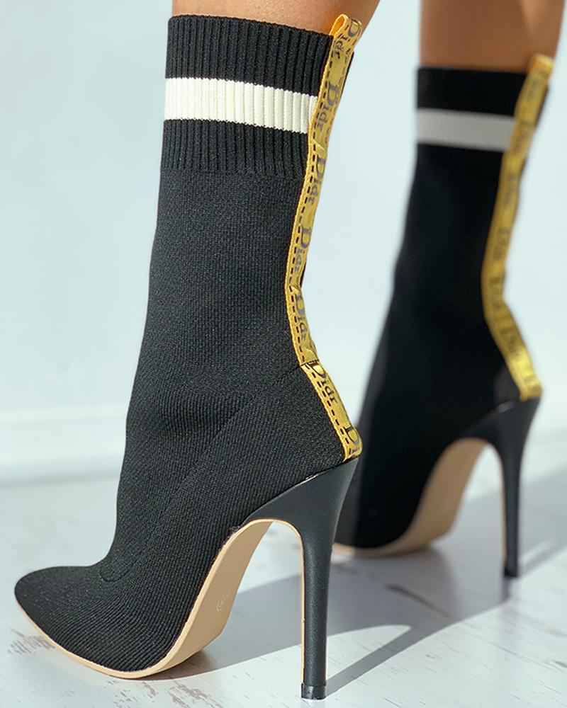 Letter Strap Colorblock Pointed Toe Stiletto Heel Boots