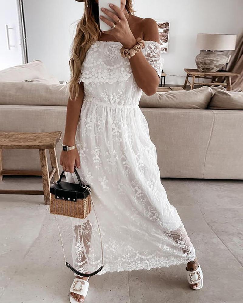 Off Shoulder Crochet Lace Maxi Dress