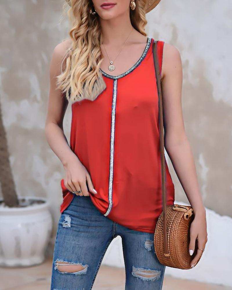 Solid Color Splicing Glitter Sleeveless Tank Top, Red