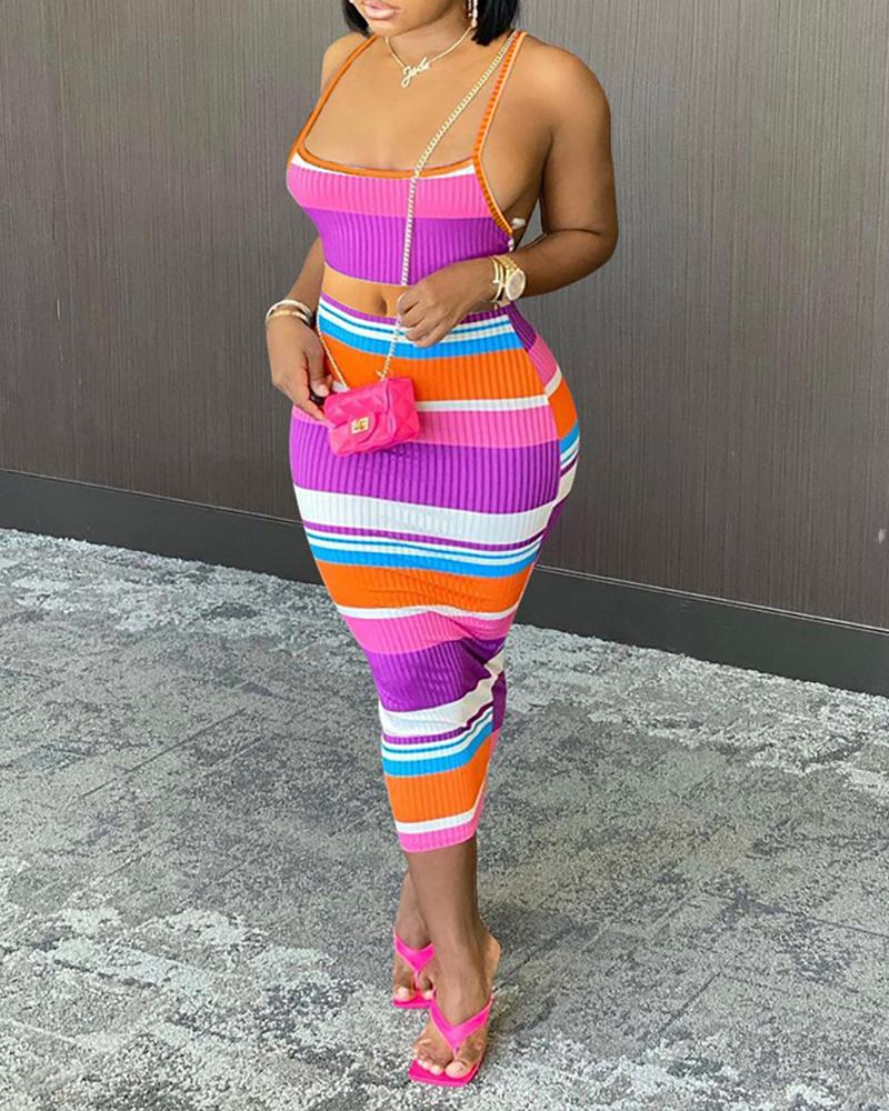 Ribbed Backless Striped Colorblock Top & Midi Skirt Set
