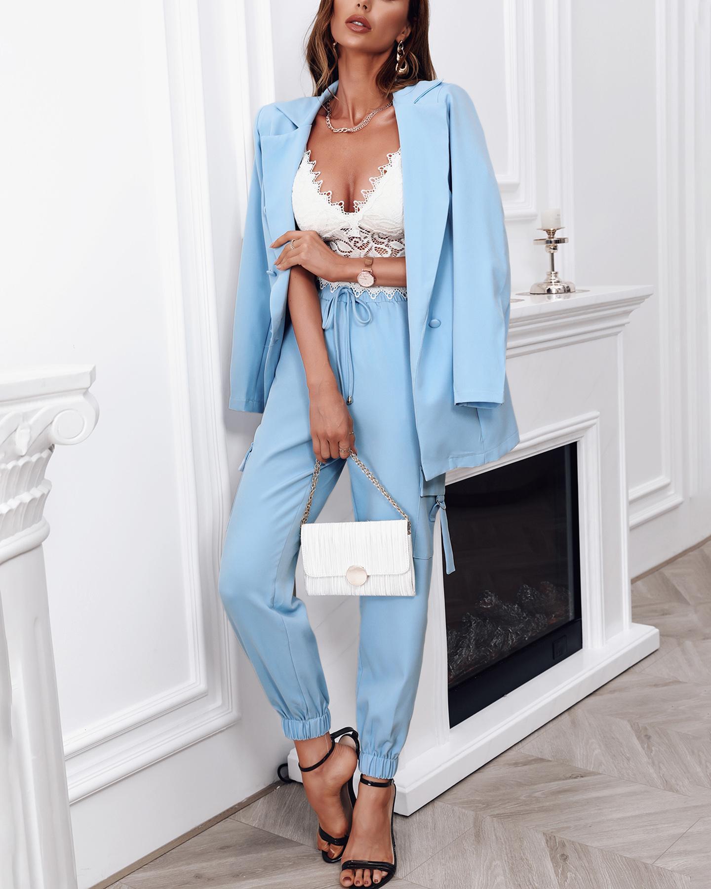 Elegant Two-Pieces Set Plain Button Design Blazer Coat & Pockets Design Pencil Pants Set