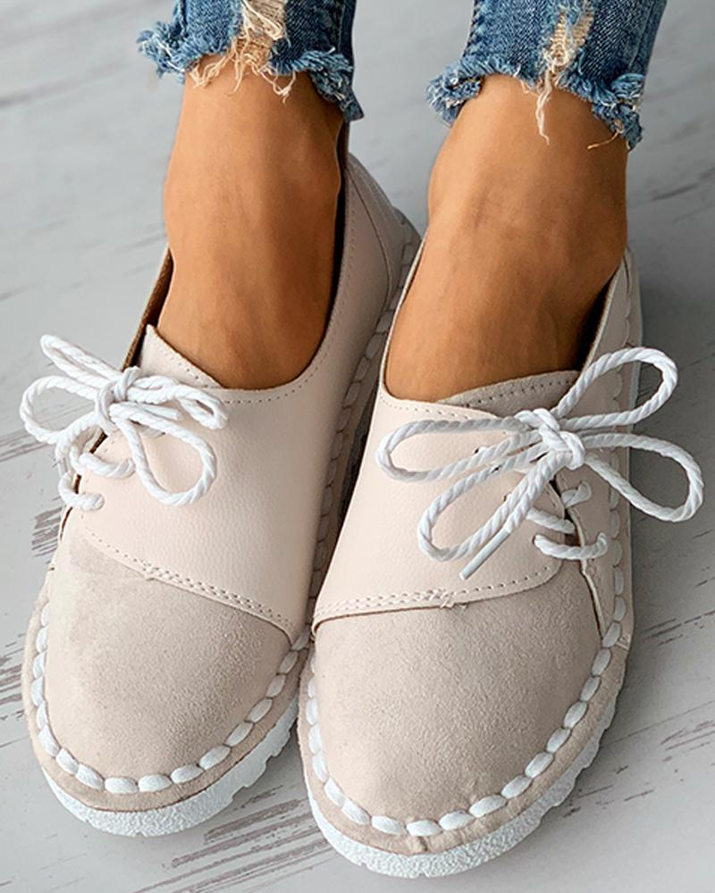 Colorblock Lace-up Casual Slip-On Flats