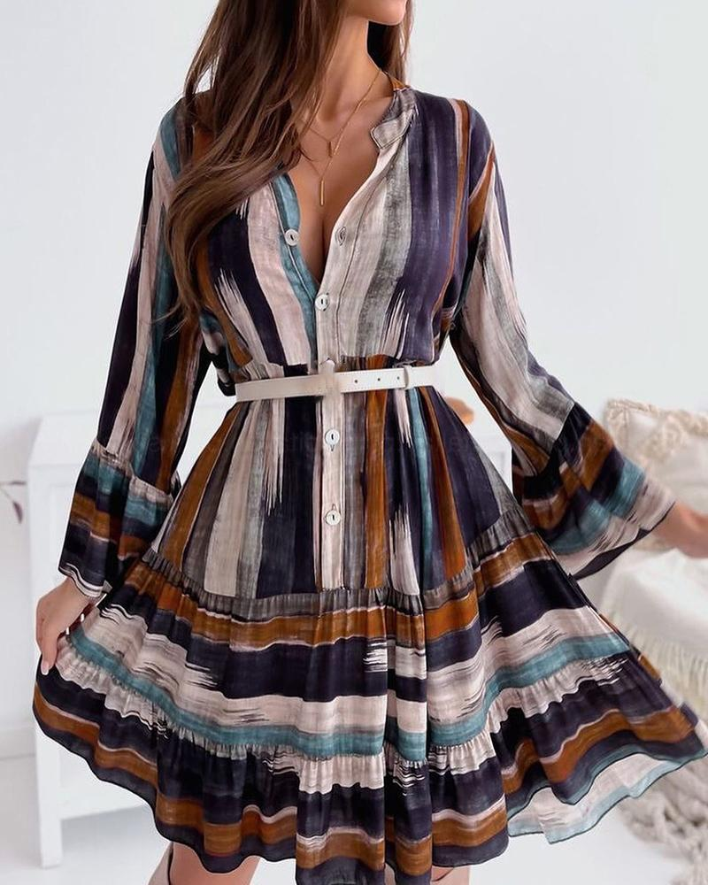 Striped Long Sleeve Buttoned Pleated Dress
