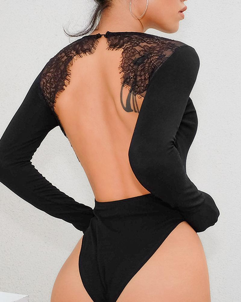 Ivrose coupon: Solid Lace Cut-out Backless Long Sleeve Swimwear