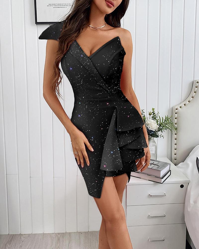 Glitter One Shoulder Asymmetrical Ruffle Hem Bodycon Dress Slim Cocktail Dress Party Dress