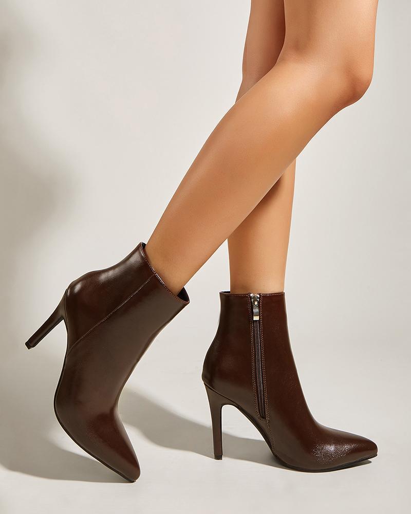 Womens Point Toe High Stiletto Heel Shiny boots