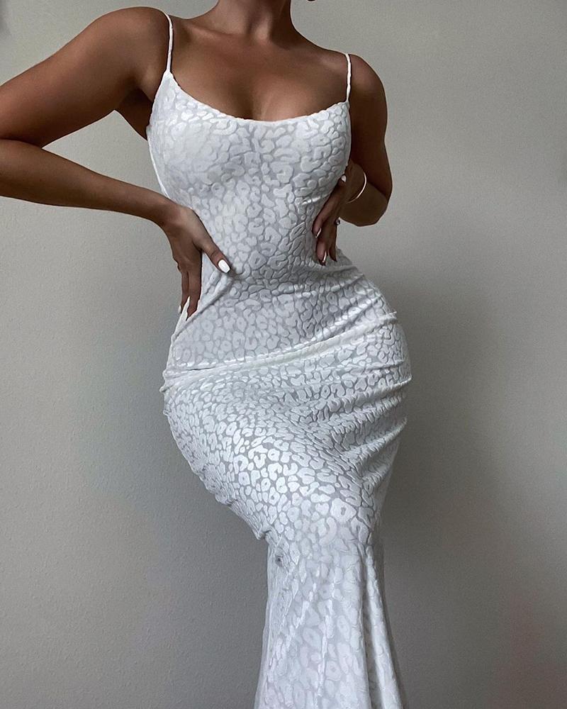 Leopard Cheetah Print Sleeveless Spaghetti Strap Bodycon Maxi Dress, joyshoetique, white  - buy with discount