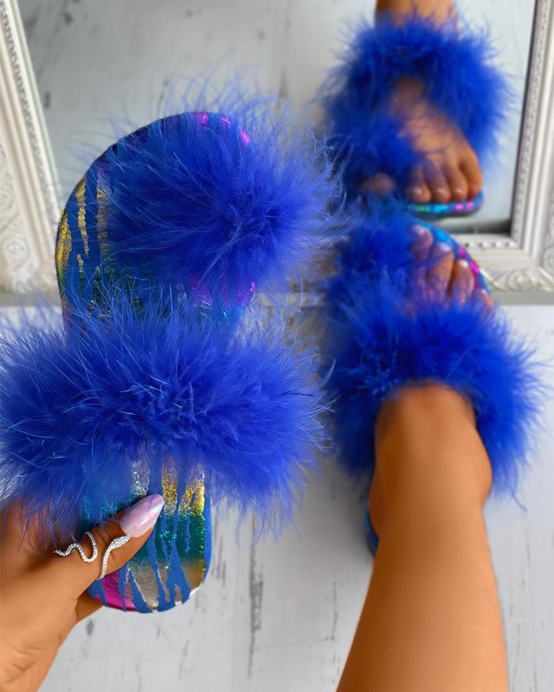 Feather Detail Toe Post Slide Slippers thumbnail