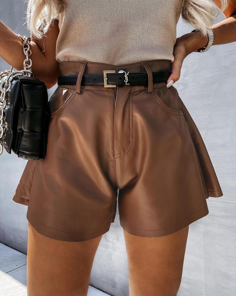 PU Leather Pocket Design Ruched Shorts