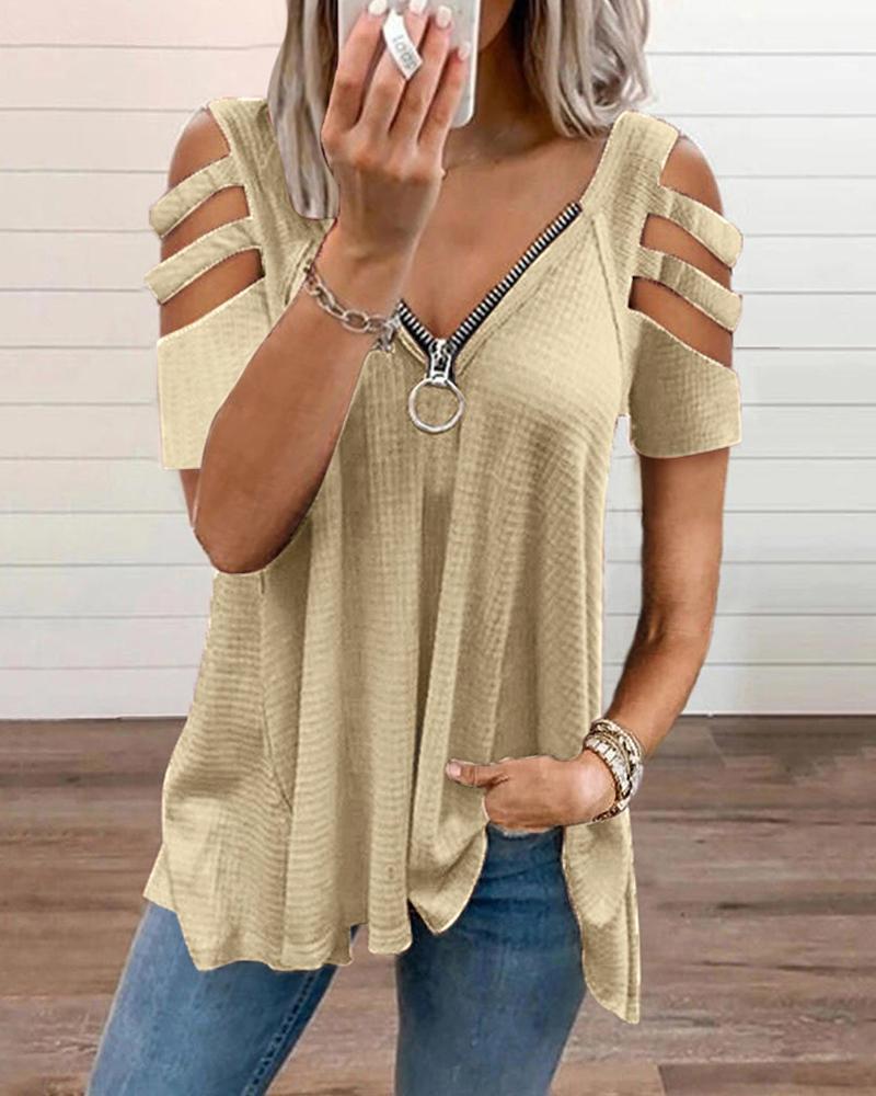 Cold Shoulder Cutout Sleeve Zip Front Top