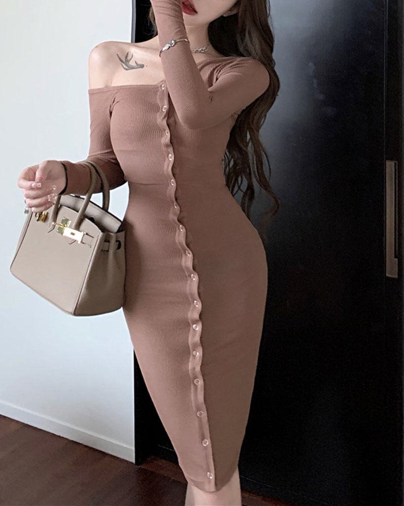 Off Shoulder Long Sleeve Button Front Knitted Dress