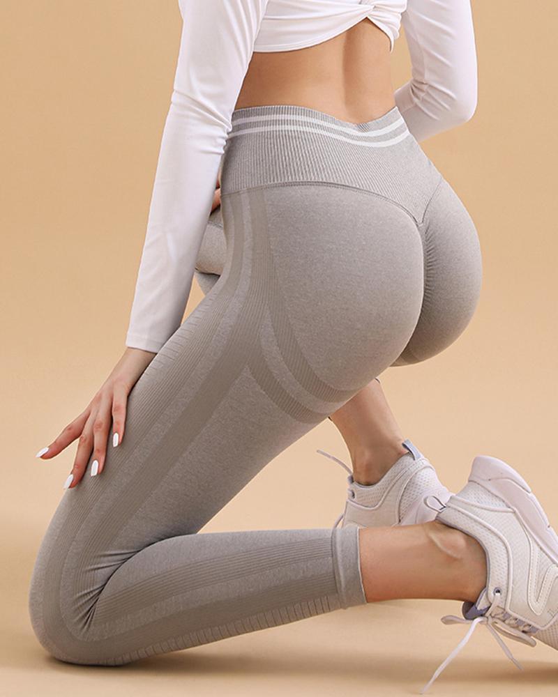 Solid High Elastic Yoga Pants Active Pants