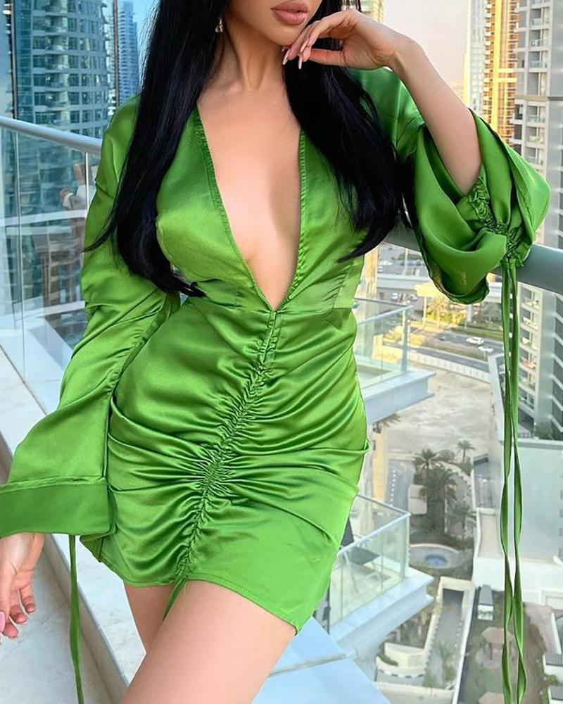 Bell Sleeve Ruched Plunge Satin Bodycon Dress