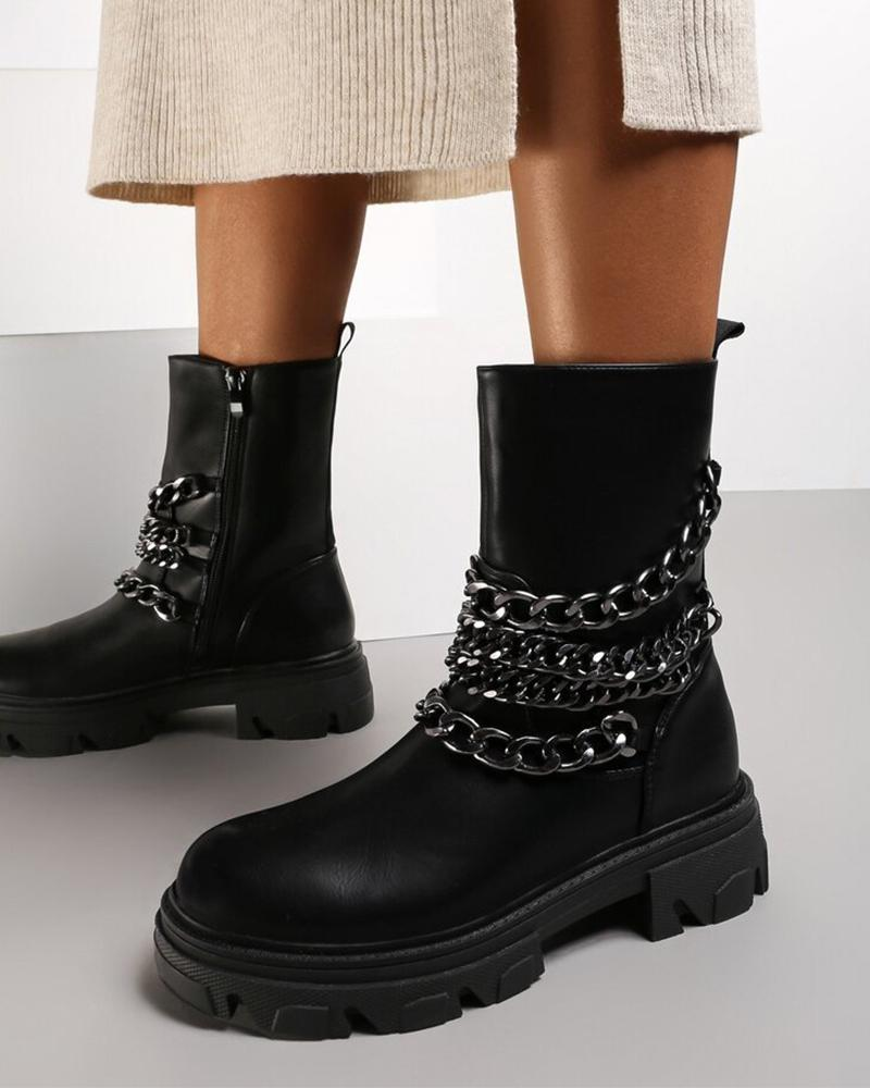Womens Multi Chains Decor Round Toe Chimney Boots