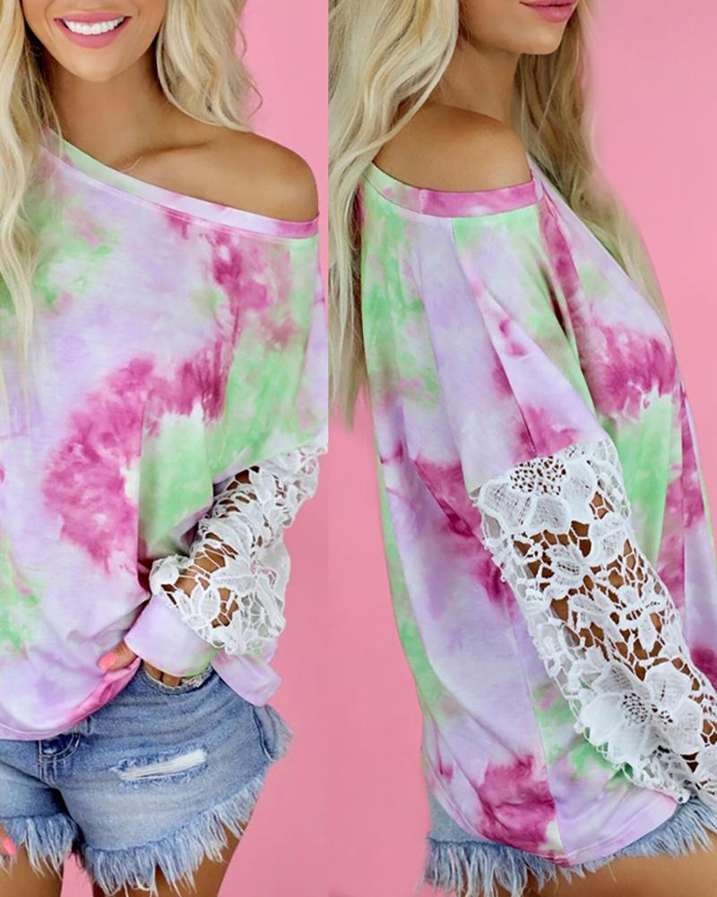 Tie Dye Print Lace Patch Casual Top