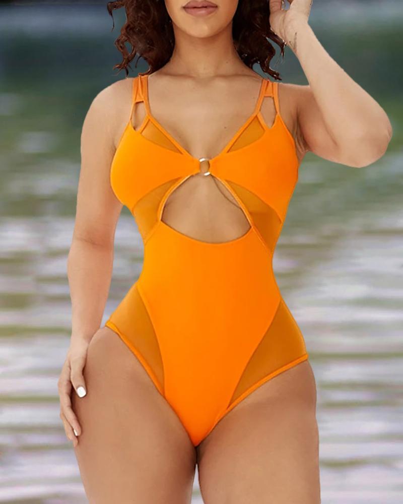 Plain Cutout Design V Neck One-Piece Swimwear