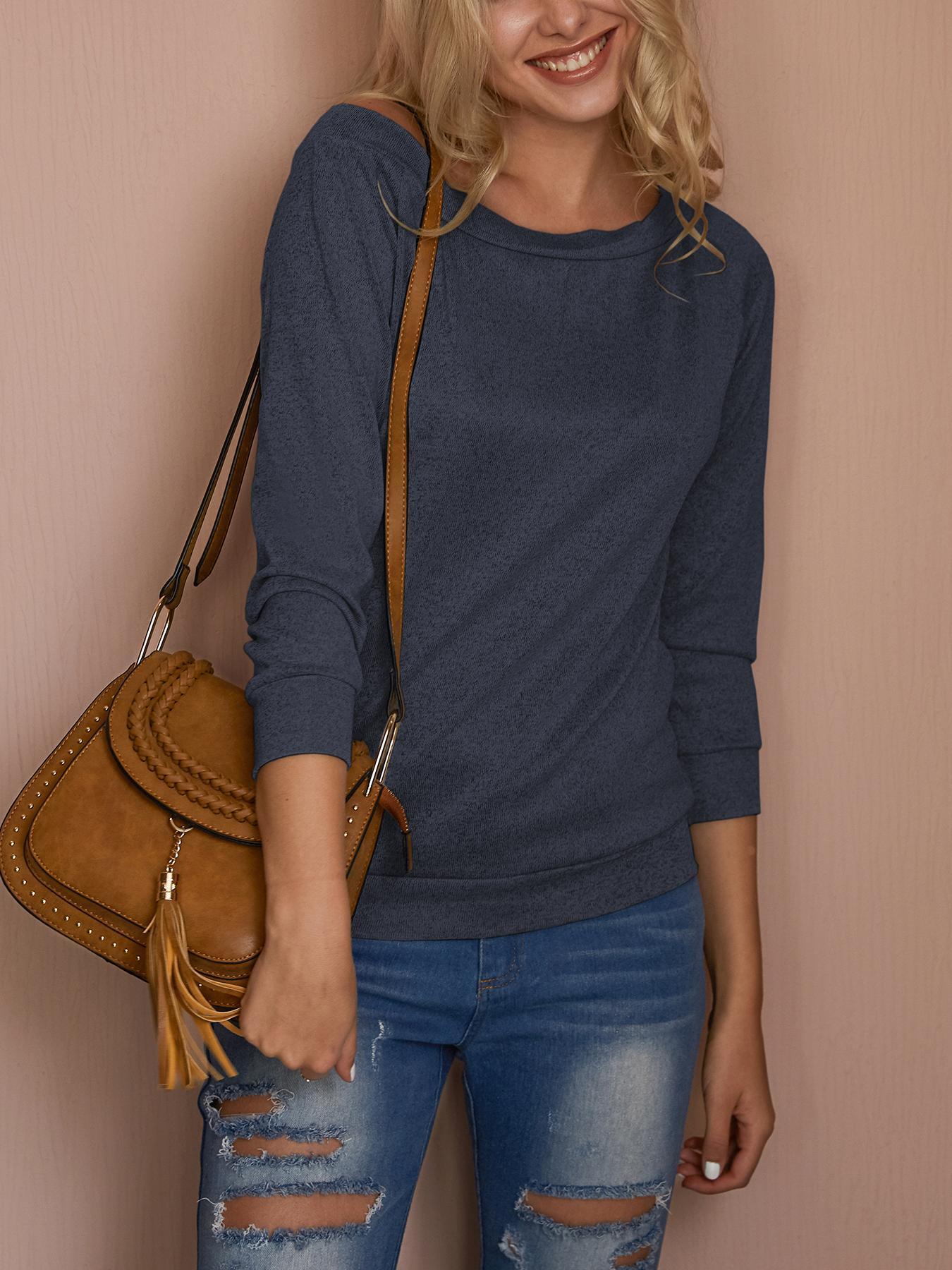Joyshoetique coupon: Fashion Solid Off Shoulder Casual Blouse