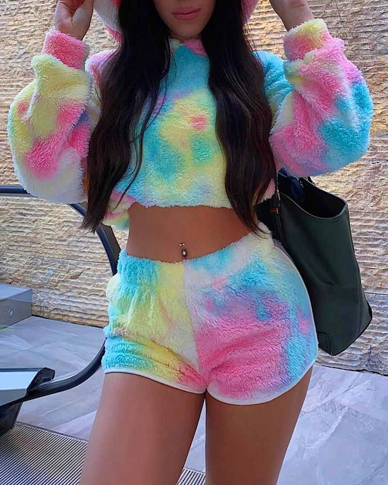 Tie Dye Print Hooded Fluffy Sweatshirt & Shorts Set