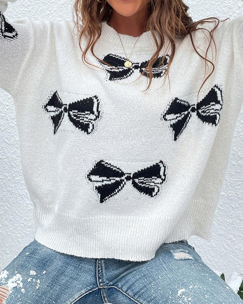 Butterfly Print Drop Shoulder Sweater