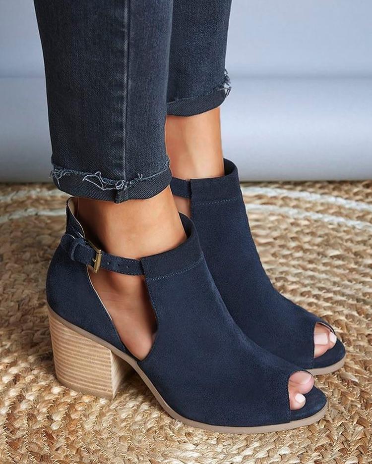 Joyshoetique coupon: Side Cutout Open Toe Block Buckle Heels Sandals