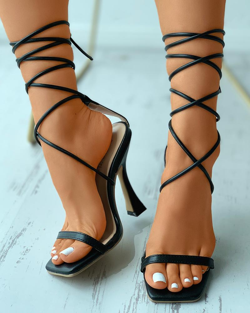 Strappy Square Toe Pyramid Heels