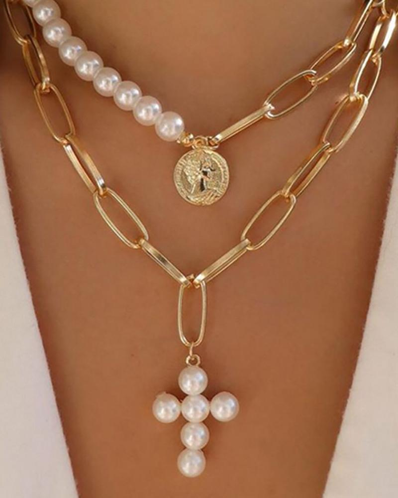 2PCS Beaded Decor Coin & Cross Pendant Layered Necklace