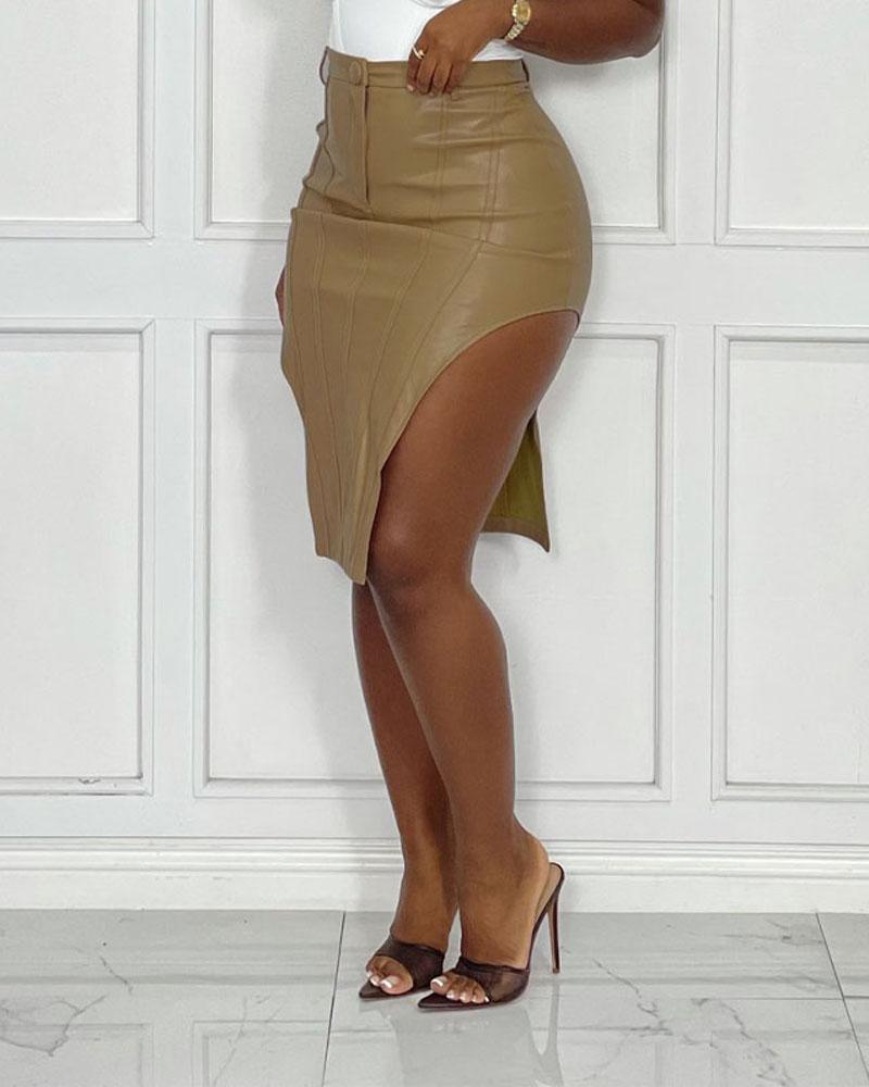 Split Thigh PU Leather Midi Skirt